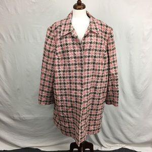 Grace Elements Pink/Tan Print Pea Coat